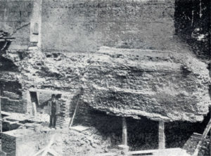 Roman Wall at London Wall House in 1905